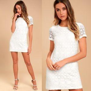 Lulus- (Short Sleeve) White Lace Shift Dress